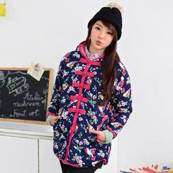 59 Seconds - Bird and Flower Pattern Padded Jacket