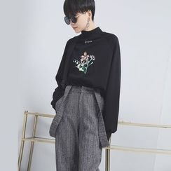 Sonne - Mock-Neck Embroidered Pullover