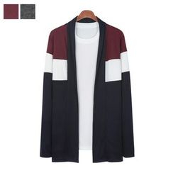 DANGOON - Shawl-Collar Color-Block Open-Front Cardigan