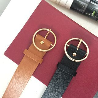 ALIN STYLE - Round Buckle Faux Leather Belt