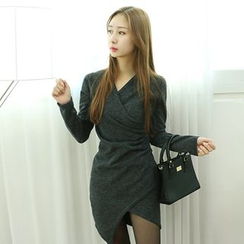 Dodostyle - Asymmetric-Hem Mini Wrap Dress