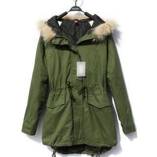 JVL - Faux-Fur Collar Hooded Coat