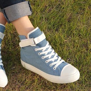 Renben - Velcro High-Top Hidden Wedge Sneakers