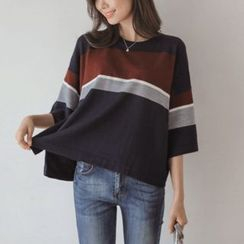 JUSTONE - 3/4-Sleeve Slit-Cuff Color-Block Knit Top