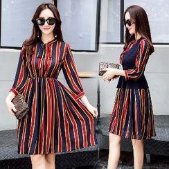 Romantica - Set: Striped Chiffon Dress + Vest