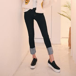 DABAGIRL - Cuff-Hem Brushed-Fleece Lined Skinny Jeans