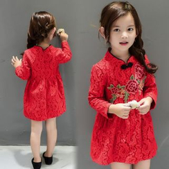 SEE SAW - Fleece-Lined Embroidery Lace Dress
