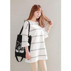 J-ANN - 3/4-Sleeve Striped T-Shirt