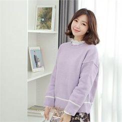 Styleberry - Scallop-Trim Contrast-Trim Knit Top