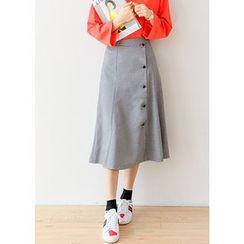 J-ANN - Button-Detail Maxi Skirt