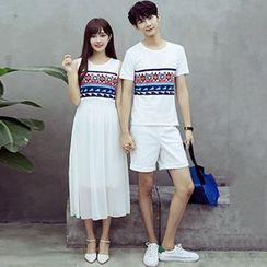 Azure - Couple Matching Printed Short Sleeve T-Shirt / Sleeveless Midi Dress