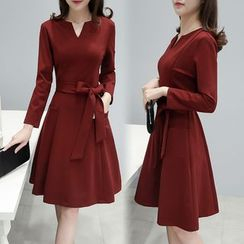 Lavogo - Split-neck Long-Sleeve A-line Dress