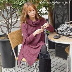 REDOPIN - Slit Hem Knit Dress with Neck Warmer