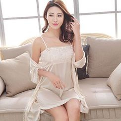 SOVINEER - Set: Lace Panel Nightdress + Robe