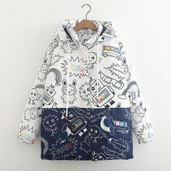 ninna nanna - Print Colour Block Hooded Padded Coat