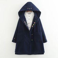 ninna nanna - 刺繡連帽針織大衣