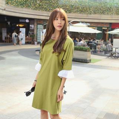 REDOPIN - Frilled Elbow-Sleeve Dress with Cord