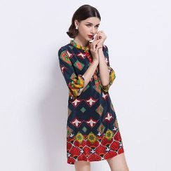 Ameous - Printed Silk Shift Dress