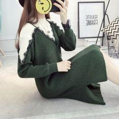 YAMI - Mock Two Piece Lace Trim Sweater Dress