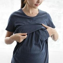 Maternity Basic - Maternity Cotton Round-Neck T-Shirt