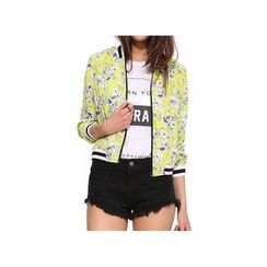 Richcoco - Long Sleeved Floral Print Baseball Jacket