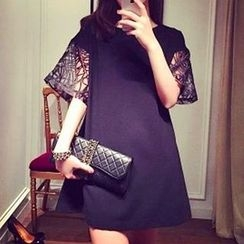 Ceres - Maternity Perforated Elbow Sleeve Swing Dress