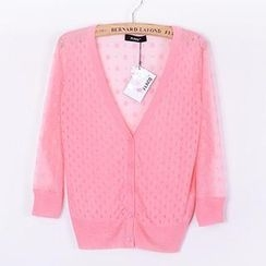 Coralie - Perforated Chiffon Knit Cardigan