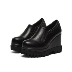 Anran - Faux Leather Platform Wedge Slip-Ons