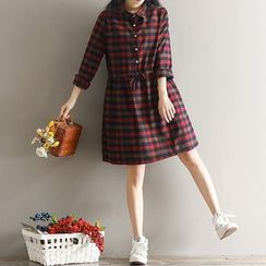 GLIT - 孕婦格子棉麻連衣裙