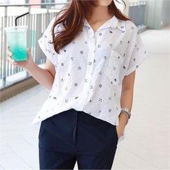 PIPPIN - Short-Sleeve Pocket-Front Pattern Shirt