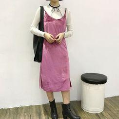 HALOLALA - 植毛絨吊帶裙