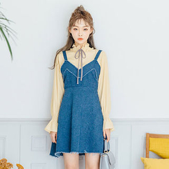 chuu - Sleeveless Denim A-Line Mini Dress