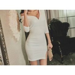 UUZONE - Asymmetric-Shoulder Mini Bodycon Dress