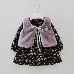 POMME - Kids Set: Floral Print Long-Sleeve Dress + Furry Vest