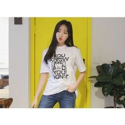 Envy Look - Short-Sleeve Lettering T-Shirt