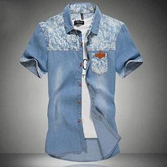 Gurun Vani - Short-Sleeve Print Panel Denim Shirt