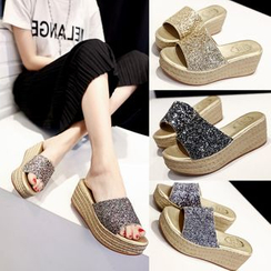 Sunsteps - Glitter Platform Mule Sandals