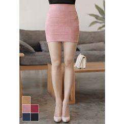 MyFiona - Seam-Trim Faux-Suede Mini Skirt