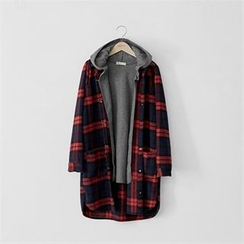 PEPER - Set: Hooded Vest + Snap-Button Check Jacket