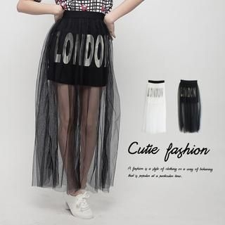 CUTIE FASHION - Mesh-Overlay Lettering Maxi Skirt