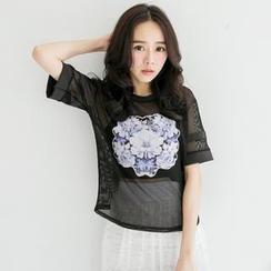 Tokyo Fashion - Short-Sleeve Floral Mesh Top