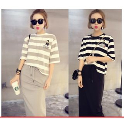 YOSH - Set: Stripe Elbow-Sleeve T-Shirt + Skirt