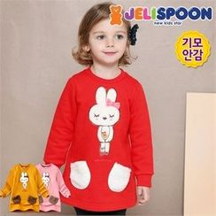 JELISPOON - Girls Rabbit Appliqué Pullover Dress