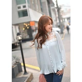 Bongjashop - Lace-Yoke Pleated Chiffon Blouse