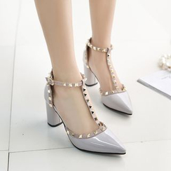 Tania - Studded Block Heel Pumps