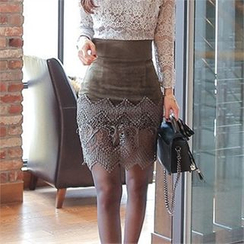 Babi n Pumkin - High-Waist Laced-Hem Skirt