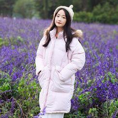 Ashlee - Furry Hooded Long Padded Coat