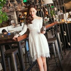 Tang House - Off-Shoulder Lace Panel Long-Sleeve Dress