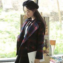 Ashlee - Plaid Woolen Coat