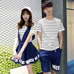 Azure - Couple Matching Stripe T-Shirt / Lettering Jumper Skirt / Lettering Shorts